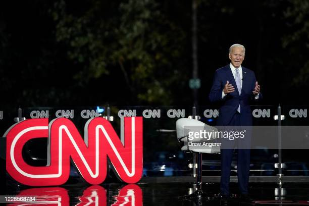 Democratic presidential nominee and former Vice President Joe Biden participates in a CNN town hall event on September 17 2020 in Moosic Pennsylvania...