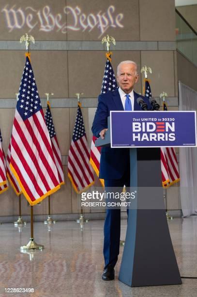 Democratic presidential nominee and former Vice President Joe Biden speaks at the National Constitution Center in Philadelphia, Pennsylvania on...