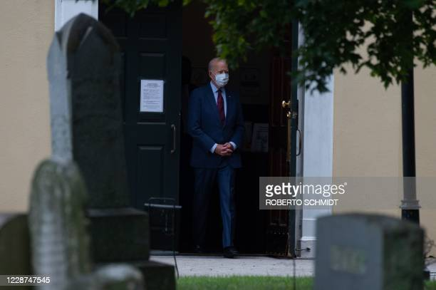 Democratic presidential nominee and former Vice President Joe Biden leaves the St Joseph On the Brandywine church in Wilmington Delaware after...