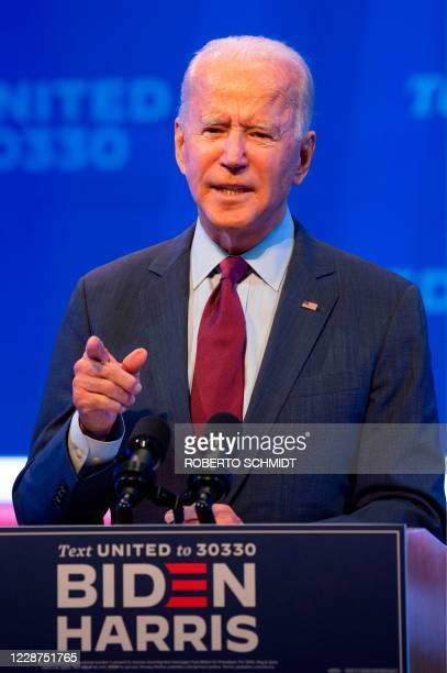 Democratic presidential nominee and former Vice President Joe Biden delivers a speech at a local theater in Wilmington Delaware on September 27 2020...