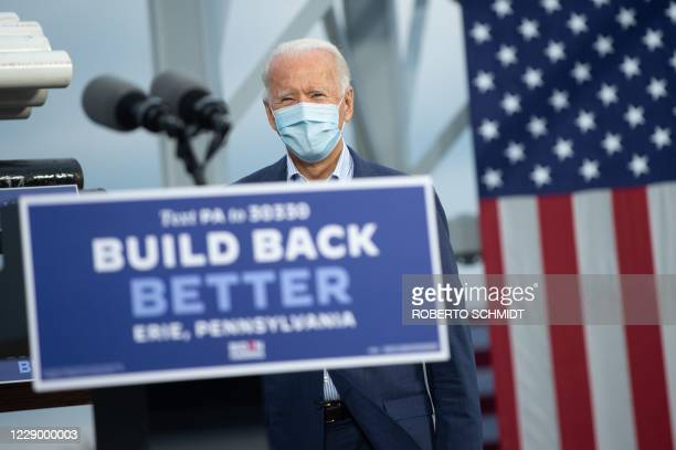 Democratic presidential nominee and former Vice President Joe Biden arrives to speak after touring a plumbers union training center in Erie,...