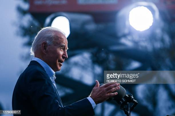 Democratic presidential nominee and former Vice President Joe Biden speaks to Union members after touring a plumbers union training center in Erie,...