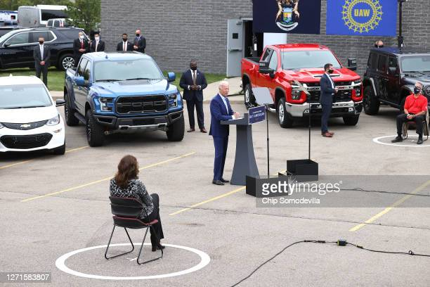 Democratic presidential nominee and former Vice President Joe Biden addresses union leaders and Michigan Governor Gretchen Whitmer , all socially...