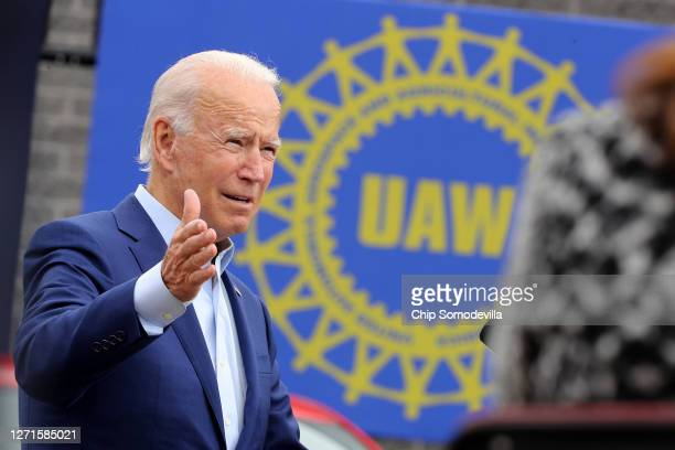 Democratic presidential nominee and former Vice President Joe Biden delivers remarks in the parking lot outside the United Auto Workers Region 1...