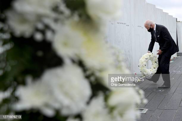 Democratic presidential nominee and former Vice President Joe Biden lays a wreath at the Flight 93 National Memorial on the 19th anniversary of the...