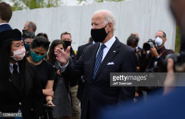 Democratic presidential nominee and former Vice President Joe Bidenand his wife, Jill, talks to the press after greeting family members of victims...