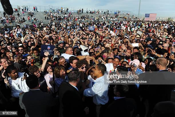 Democratic Presidential nominee Barack Obama attends HENDERSON CHANGE WE NEED RALLY at Coronado High School in Henderson NV