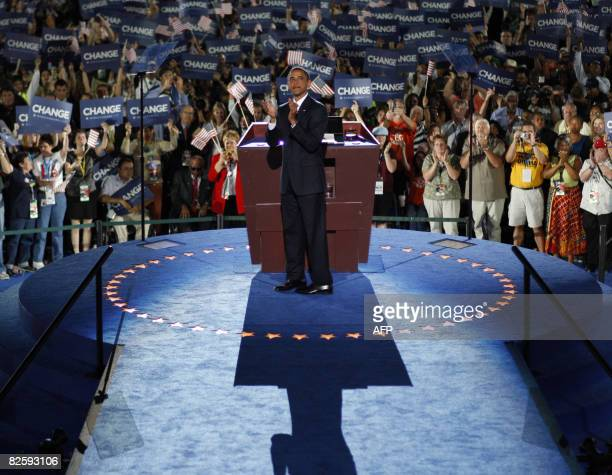 Democratic presidential nominee Barack Obama greets delegates prior to accepting the Democratic presidential nomination at Invesco Field at Mile High...