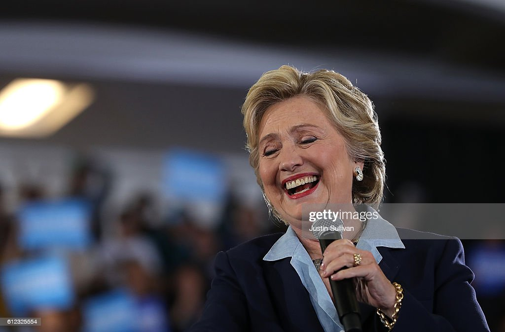Democratic presidential nominee former Secreatry of State Hillary Clinton speaks during a campaign rally at Goodyear Hall and Theatre on October 3, 2016 in Akron, Ohio. Clinton is campaigning in Ohio ahead of the November 8th election.