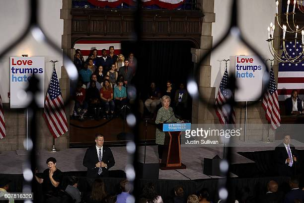 Democratic presidential nominee former Secretary of State Hillary Clinton delivers a speech at Temple University on September 19, 2016 in...