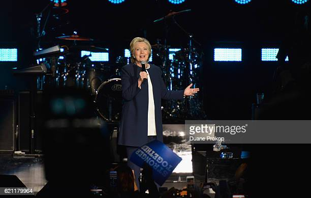 Democratic presidential nominee former Secretary of State Hillary Clinton during a Get Out The Vote concert in support of Hillary Clinton at Wolstein...