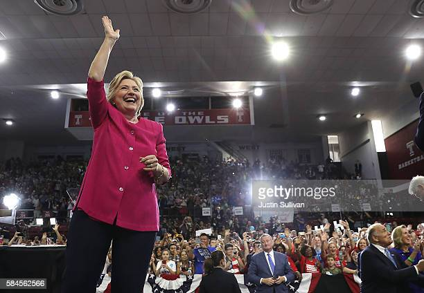 Democratic presidential nominee former Secretary of State Hillary Clinton greets supporters during a campaign rally at Temple University on July 29,...