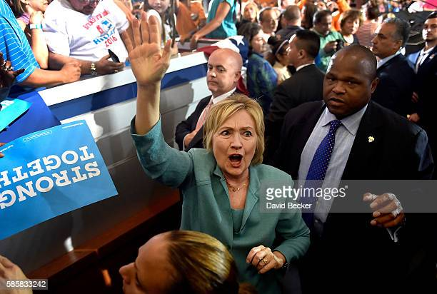 Democratic presidential nominee former Secretary of State Hillary Clinton waves to supporters after speaking at the International Brotherhood of...