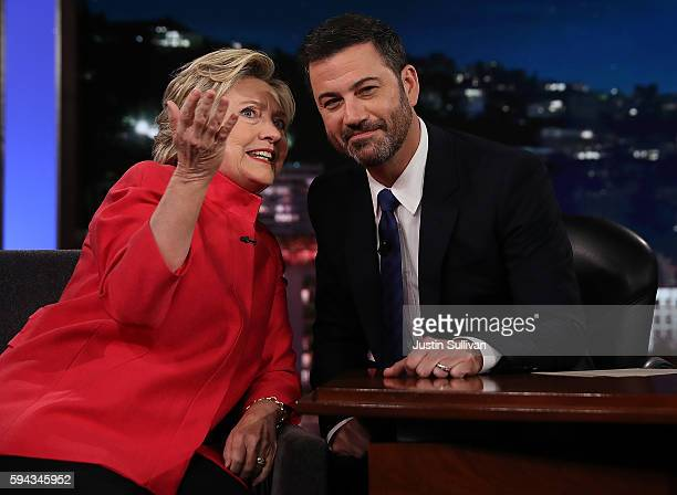 Democratic presidential nominee former Secretary of State Hillary Clinton talks with Jimmy Kimmel on the set of Jimmy Kimmel Live on August 22 2016...