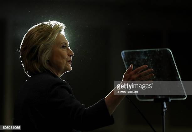 Democratic presidential nominee former Secretary of State Hillary Clinton speaks during the Black Women's Agenda's 29th Annual Symposium on September...