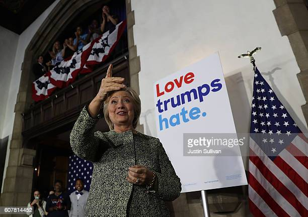 Democratic presidential nominee former Secretary of State Hillary Clinton greets supporters after delivering a speech at Temple University on...