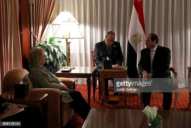 Democratic presidential nominee former Secretary of State Hillary Clinton meets with Egyptian president Abdel Fattah ElSisi at the Palace Hotel on...