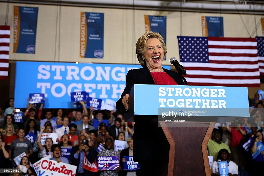 Democratic presidential nominee former Secretary of State Hillary Clinton speaks during a campaign rally at Wake Technical Community College on September 27, 2016 in Raleigh, North Carolina. Hillary Clinton is campaigning in North Carolina a day after facing off with republican presidential nominee Donald Trump in the first presidential debate.