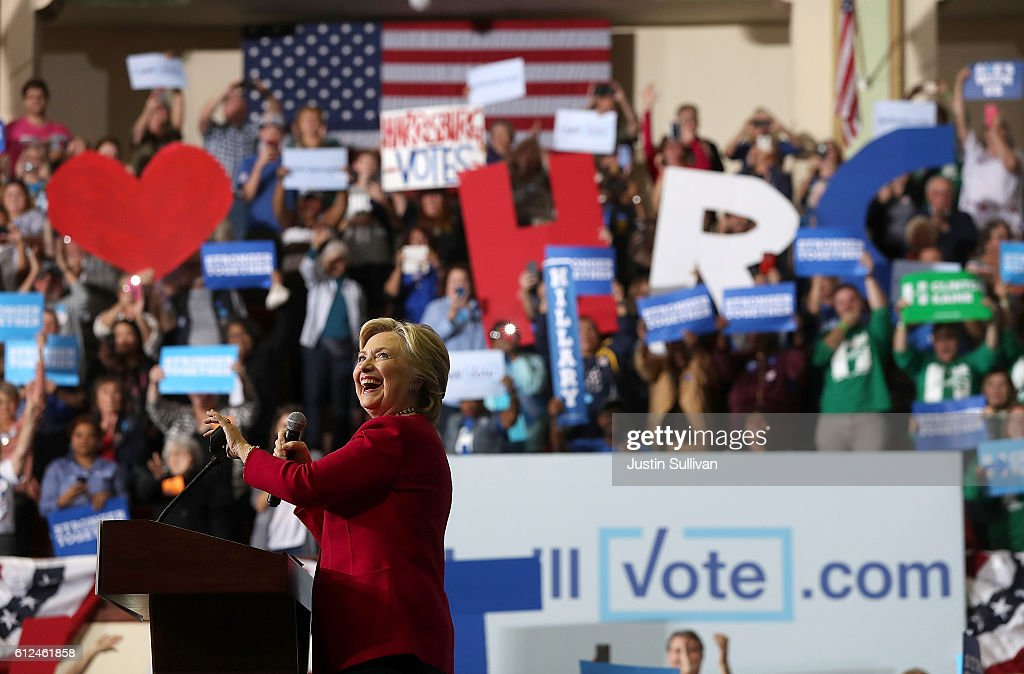 Democratic presidential nominee former Secretary of State Hillary Clinton speaks during a Pennsylvania Democrats voter registration event at Zembo Shrine on October 4, 2016 in Harrisburg, Pennsylvania. Hillary Clinton is campaigning in Pennsylvania.
