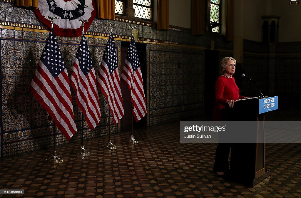Democratic presidential nominee former Secretary of State Hillary Clinton speaks to reporters following a Pennsylvania Democrats voter registration event at Zembo Shrine on October 4, 2016 in Harrisburg, Pennsylvania. Hillary Clinton is campaigning in Pennsylvania.