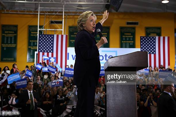 Democratic presidential nominee former Secretary of State Hillary Clinton speaks during a campaign rally at Wayne State University on October 10 2016...