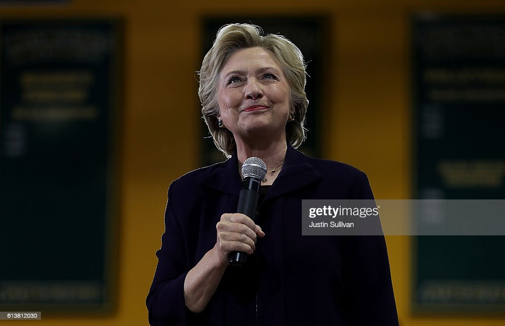 Democratic presidential nominee former Secretary of State Hillary Clinton speaks during a campaign rally at Wayne State University on October 10, 2016 in Detroit, Michigan. A day after the second presidential debate in St. Louis, Hillary Clinton is campaigning in Michigan and Ohio.