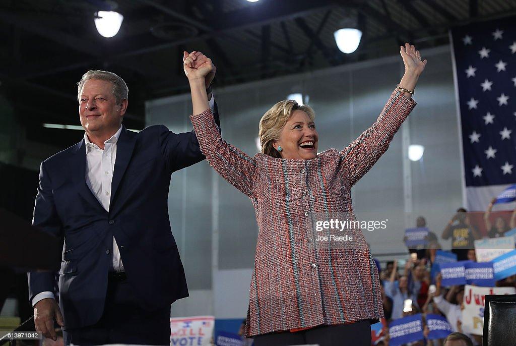 Former VP Al Gore Campaigns With Hillary Clinton In Miami : News Photo