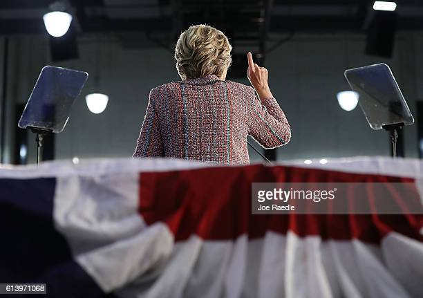 Democratic presidential nominee former Secretary of State Hillary Clinton speaks during a campaign rally with former Vice President Al Gore at the...
