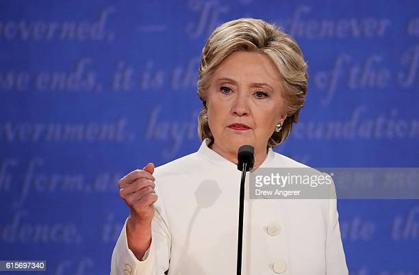 Democratic presidential nominee former Secretary of State Hillary Clinton speaks during the third US presidential debate at the Thomas Mack Center on...