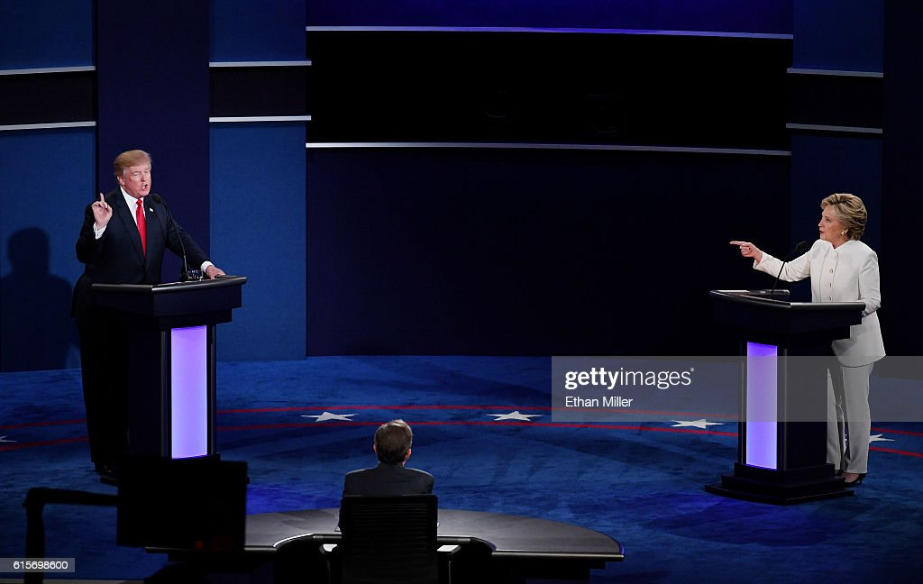 Final Presidential Debate Between Hillary Clinton And Donald Trump Held In Las Vegas : News Photo