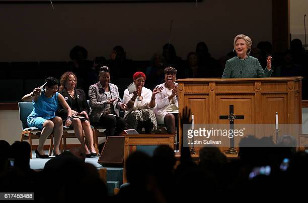 Democratic presidential nominee former Secretary of State Hillary Clinton speaks as she attends church services with members of Mothers of the...