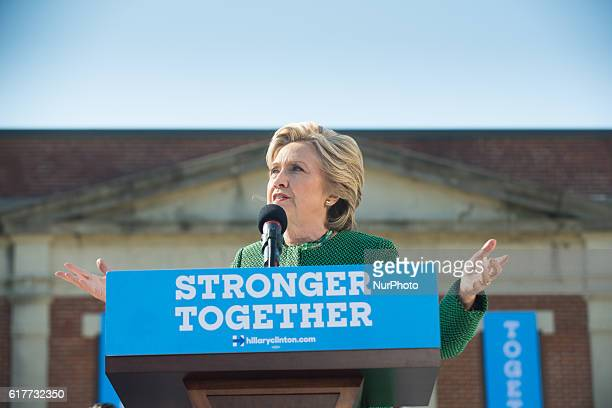 Democratic presidential nominee former Secretary of State Hillary Clinton speaks during a campaign rally at Saint Augustine's University on October...