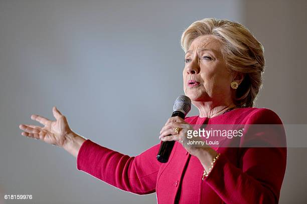 Democratic presidential nominee former Secretary of State Hillary Clinton speaks at her rally to highlight the start of inperson early voting at Omni...