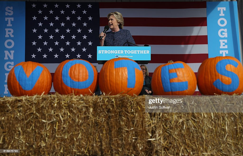 Democratic presidential nominee former Secretary of State Hillary Clinton speaks during a campaign rally on October 28, 2016 in Cedar Rapids, Iowa. With less than two weeks to go until election day, Hillary Clinton is campaigning in Iowa.