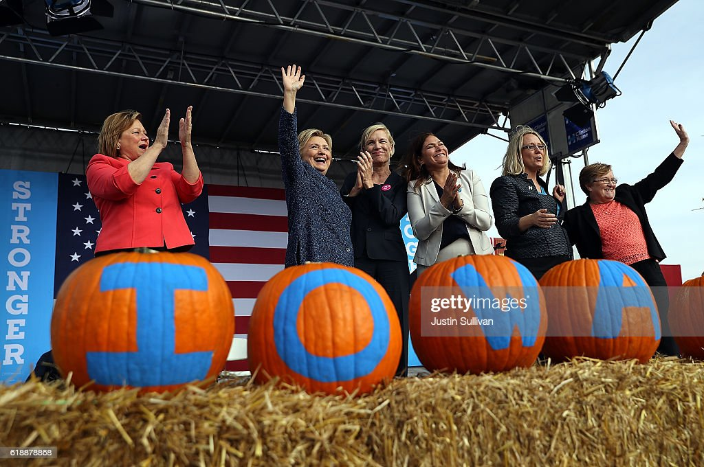 Democratic presidential nominee former Secretary of State Hillary Clinton greets supporters during a campaign rally on October 28, 2016 in Cedar Rapids, Iowa. With less than two weeks to go until election day, Hillary Clinton is campaigning in Iowa.