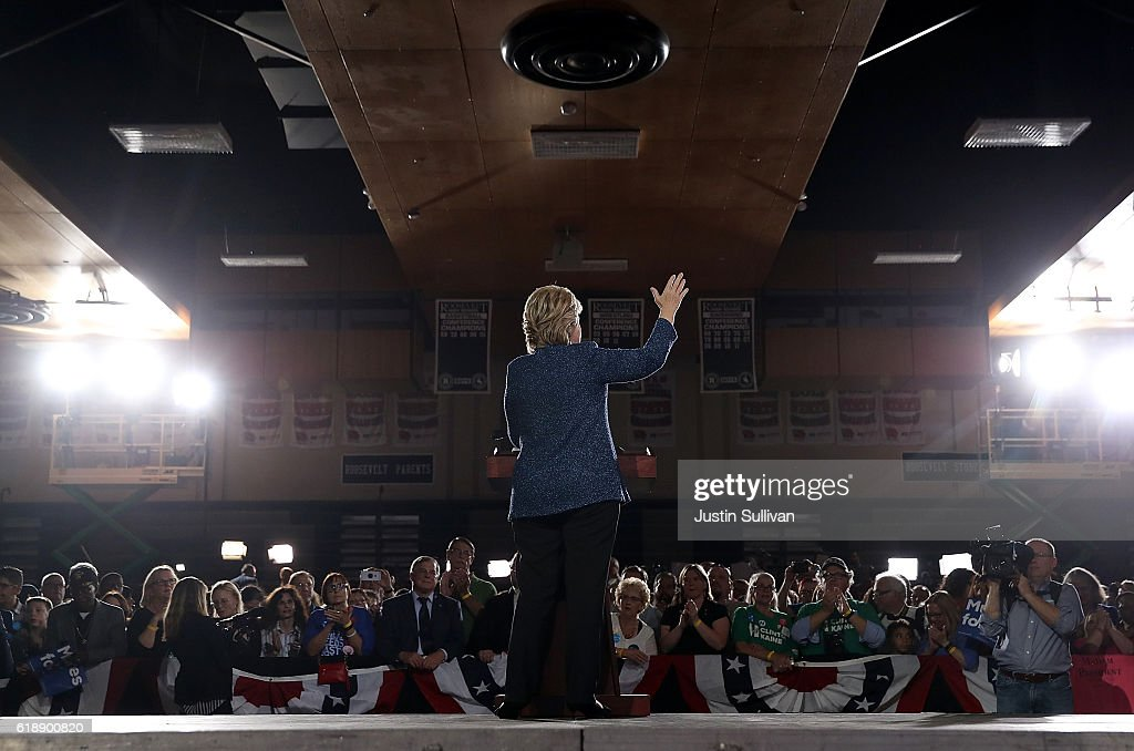 Democratic presidential nominee former Secretary of State Hillary Clinton speaks during a campaign rally at Roosevelt High School on October 28, 2016 in Des Moines, Iowa. With less than two weeks to go until election day, Hillary Clinton is campaigning in Iowa.