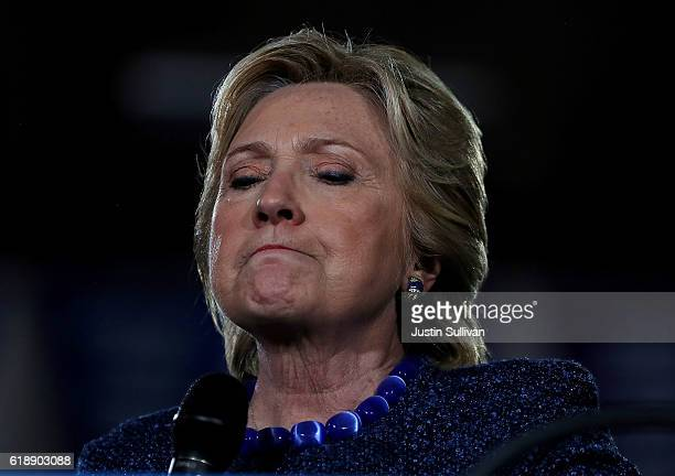 Democratic presidential nominee former Secretary of State Hillary Clinton speaks during a campaign rally at Roosevelt High School on October 28 2016...