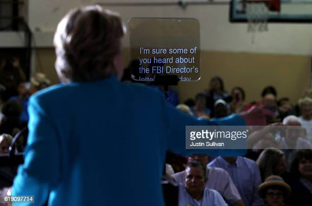 Democratic presidential nominee former Secretary of State Hillary Clinton speaks during a campaign rally at Dickerson Community Center on October 29...