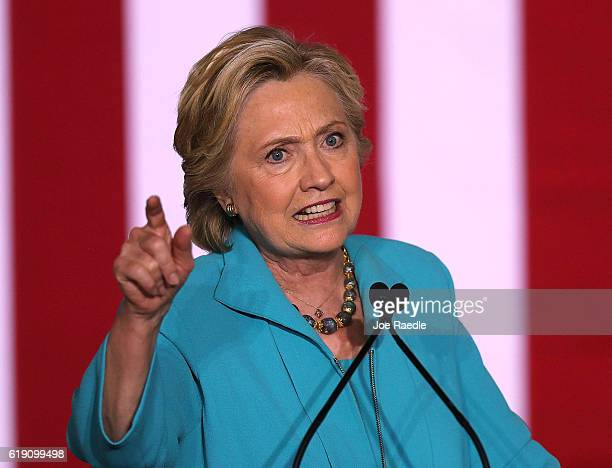 Democratic presidential nominee former Secretary of State Hillary Clinton speaks during a campaign rally at the Dickerson Community Center Ralph...