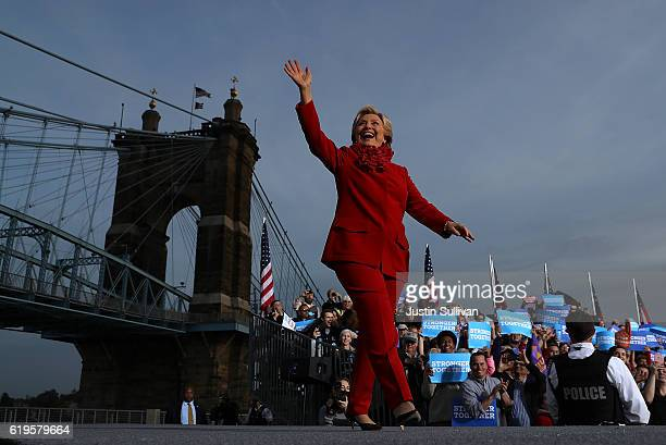 Democratic presidential nominee former Secretary of State Hillary Clinton greets supporters during a campaign rally at Smale Riverfront Park on...