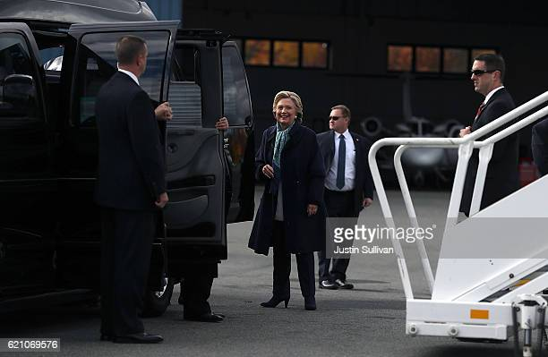 Democratic presidential nominee former Secretary of State Hillary Clinton boards her campaign plane at Westchester County Airport on November 4, 2016...