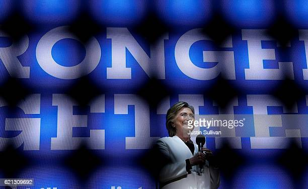Democratic presidential nominee former Secretary of State Hillary Clinton speaks during a getoutthevote concert at the Mann Center for the Performing...