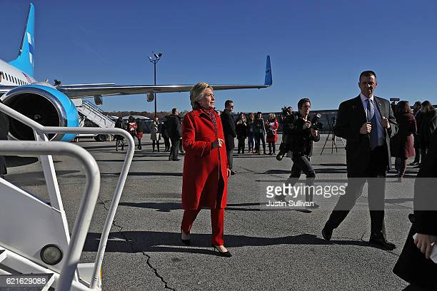 Democratic presidential nominee former Secretary of State Hillary Clinton preapre to board her campaign plane at Westchester County Airport on...