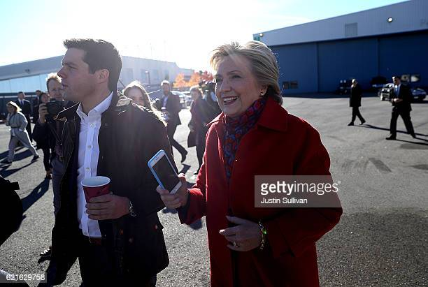 Democratic presidential nominee former Secretary of State Hillary Clinton prepares to board her campaign plane at Westchester County Airport on...