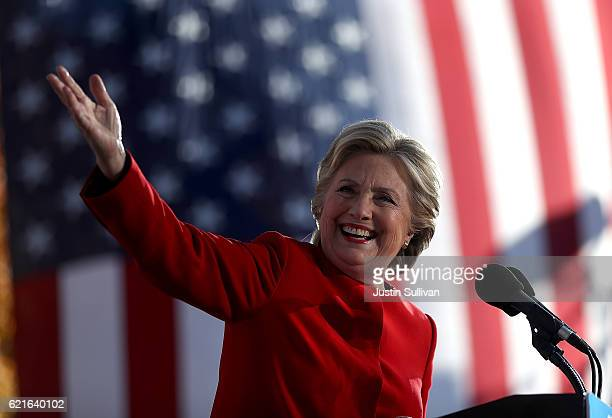 Democratic presidential nominee former Secretary of State Hillary Clinton speaks during a campaign rally on November 7 2016 in Pittsburgh...