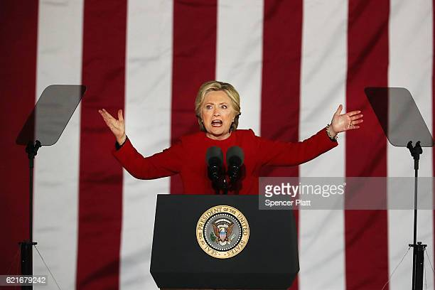 Democratic presidential nominee former Secretary of State Hillary Clinton speaks during an election eve rally on November 7 2016 in Philadelphia...