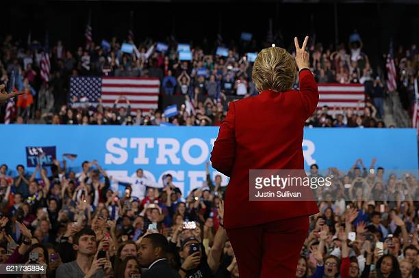 Democratic presidential nominee former Secretary of State Hillary Clinton greets supporters during a campaign rally at North Carolina State...