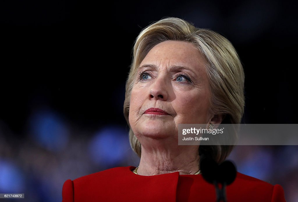 Hillary Clinton Campaigns Across US One Day Ahead Of Presidential Election : News Photo