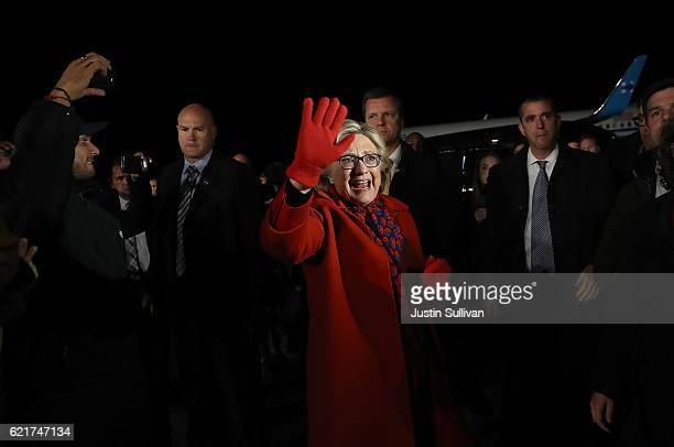 Democratic presidential nominee former Secretary of State Hillary Clinton greets supporters after arriving at Westchester County Airport on November...