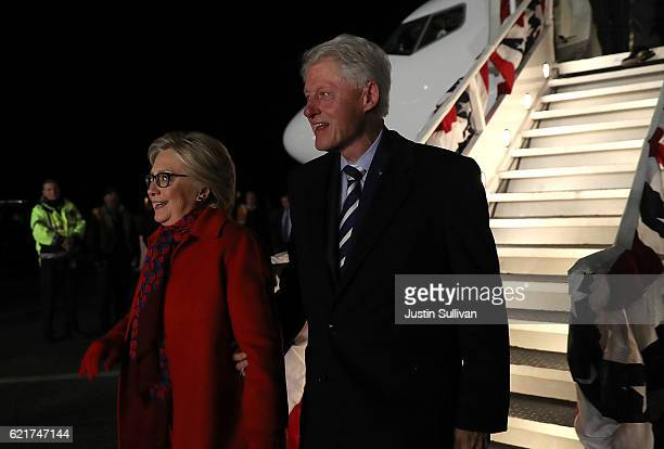 Democratic presidential nominee former Secretary of State Hillary Clinton and her husband former U.S. President Bill Clinton arrive at Westchester...